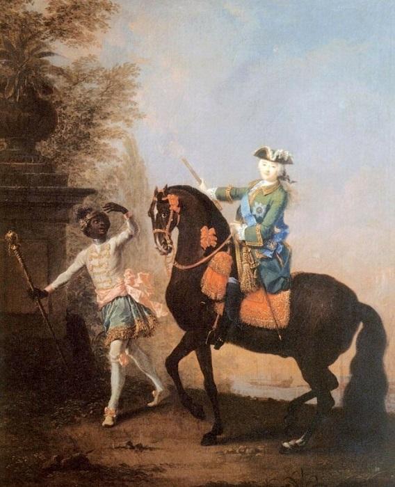 Конный портрет Елизаветы Петровны с пажом.